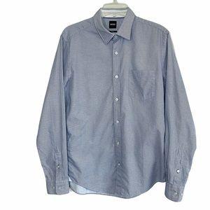 Boss slim fit patterned button down dress shirt